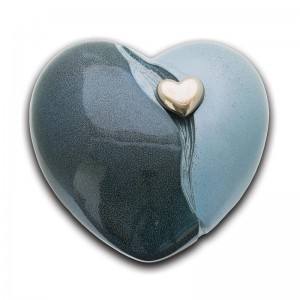 Ceramic Heart Urn (Blue with Silver Heart Motif)