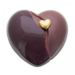 Ceramic Heart Urn (Maroon with Gold Heart Motif)