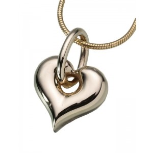 Gold Vermeil Puff Heart Pendant with Loop