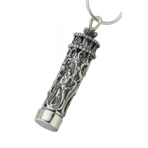 Sterling Silver Antique Cylinder Pendant with Glass Insert