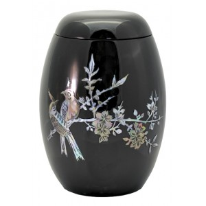 "Glass Fibre Urn (Black with a ""Mother of Pearl"" Bird Design)"