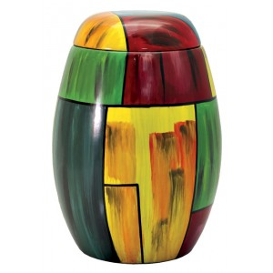 Glass Fibre Urn (Yellow & Green Abstract Design)