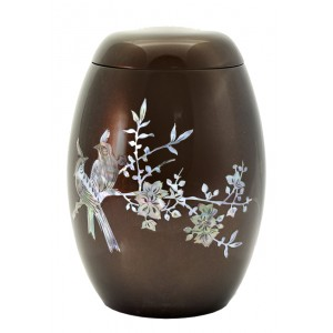 "Glass Fibre Urn (Brown with a ""Mother of Pearl"" Bird Design)"