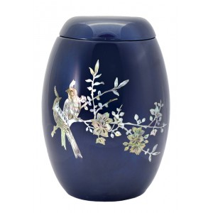 "Glass Fibre Urn (Blue with a ""Mother of Pearl"" Bird Design)"