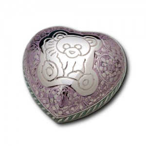 Keepsake Heart (Silver with Multi-coloured Engraving and Teddy Bear Design)