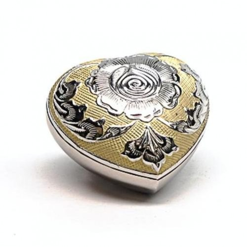 Keepsake Heart (Silver with Gold Detailing and Rose Design)