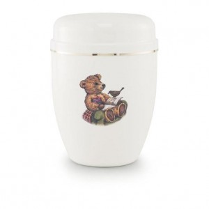 Infant Urn (White with Teddy Bear Illustration)