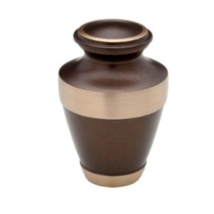 Brass Keepsake Small Urn (Smoky Brown with Gold Band)