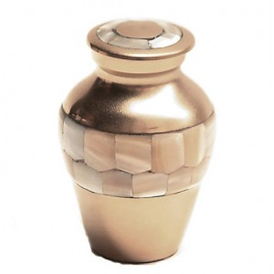 Brass Keepsake Small Urn (Gold and Mother of Pearl)