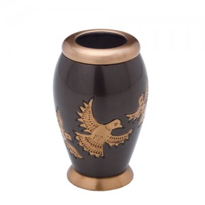 Brass Keepsake Small Urn (Black with Gold Flying Doves Detail)