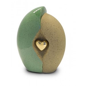 Medium Ceramic Urn (Jade and Sandstone with Gold Heart Motif)
