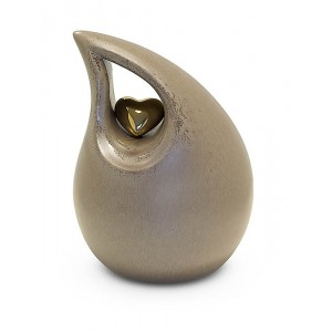 Medium Ceramic Urn (Neutral with Gold Heart Motif)