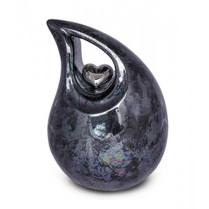 Medium Ceramic Urn (Graphite with Silver Heart Motif)