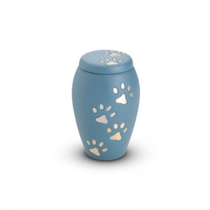 Brass - Pet Keepsake Urn (Blue with Gold and Silver Pawprints)