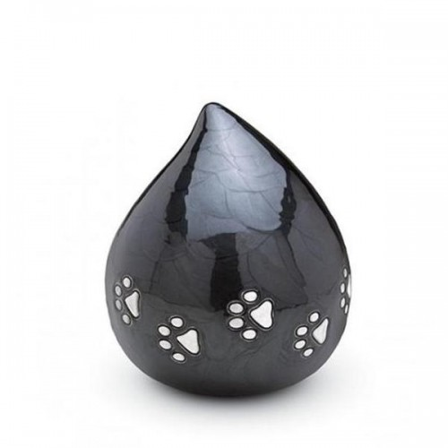 Brass Teardrop - Pet Cremation Ashes Urn - (Black with Silver Pawprints)