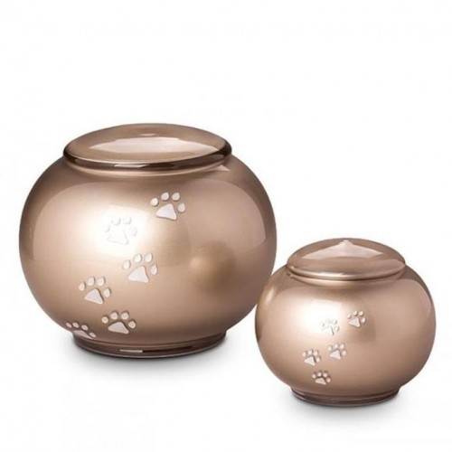 Crystal  - Pet Cremation Ashes Urn - Round Design - (Brown with Silver Pawprints)