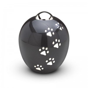 Brass - Pet Cremation Ashes Urn (1.7 litres) - ADORE - (Pewter with Silver Pawprints)
