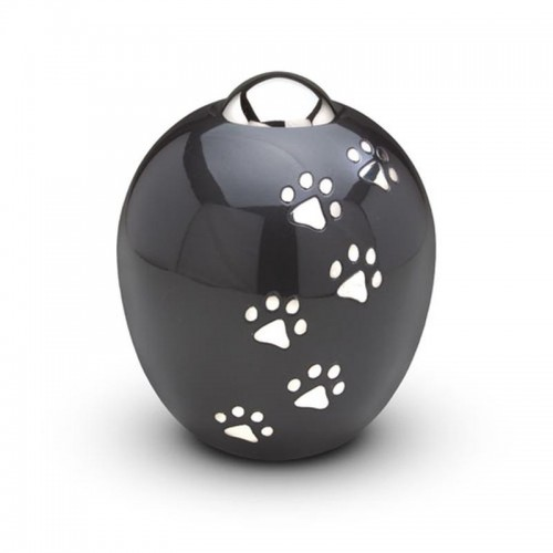 Brass - Pet Cremation Ashes Urn (2.4 litres) - ADORE - (Pewter with Silver Pawprints)
