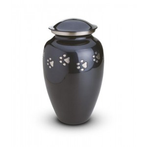 Brass - Pet Cremation Ashes Urn 1.0 Litres (Grey with Silver Pawprints)