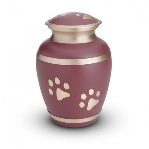 Brass - Pet Cremation Ashes Urn 1.0 Litre (Pink with Gold Pawprints)