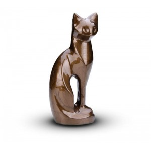 Sculpted Figurine - Cat Cremation Ashes Urn – BROWN