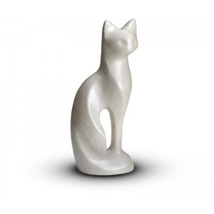 Sculpted Figurine - Cat Cremation Ashes Urn – WHITE
