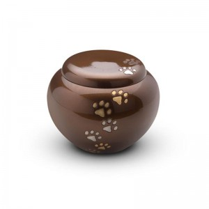 Brass - Rounded Pet Cremation Ashes Urn 1.0 Litre (Brown with Gold and Silver Pawprints)