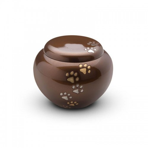 Brass - Rounded Pet Cremation Ashes Urn 1.5 Litres (Brown with Gold and Silver Pawprints)