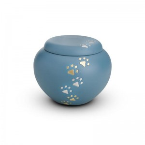 Brass - Rounded Pet Cremation Ashes Urn 0.5 Litres (Blue with Gold and Silver Pawprints)