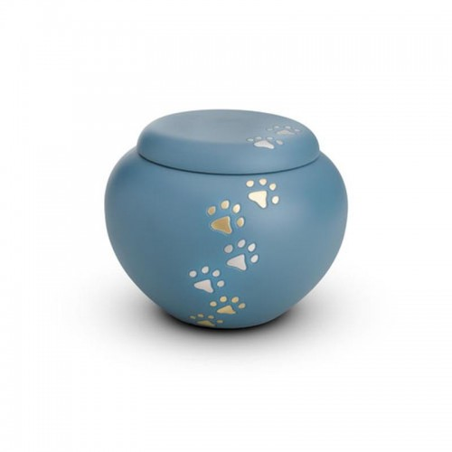 Brass - Rounded Pet Cremation Ashes Urn 1.0 Litre (Blue with Gold and Silver Pawprints)