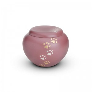 Brass - Rounded Pet Cremation Ashes Urn 1.5 Litres (Pink with Gold and Silver Pawprints)