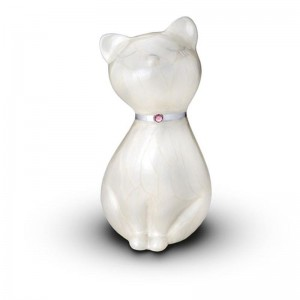 Sculpted Figurine - Cat Cremation Ashes Urn – (WHITE WITH SWAROVSKI ELEMENTS COLLAR)