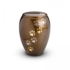 Brass - Pet Cremation Ashes Urn 1.0 Litre (Brown with Gold and Silver Pawprints)