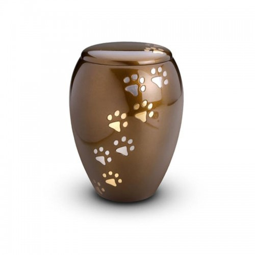 Brass - Pet Cremation Ashes Urn 1.5 Litres (Brown with Gold and Silver Pawprints)