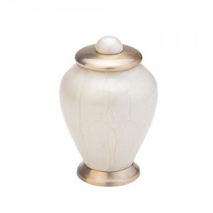 "Simplicity Keepsake Small Urn (Mother of Pearl and Gold) - ""Made with Love"""
