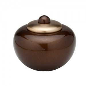 "Round Simplicity Keepsake Small Urn (Brown) - ""Made with Love"""