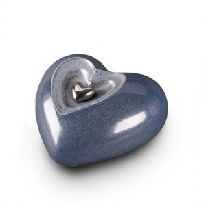 Small Ceramic Heart Shape Cremation Ashes Urn (Serenity Blue)