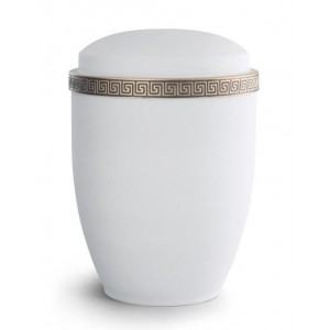 Steel Urn (Grecian Athena Edition - White with Gold Block Spiral Border)