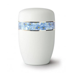 Steel Urn (White with Blue Flower Border)