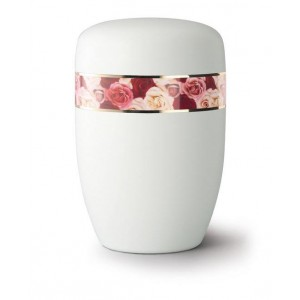 Steel Urn (White with Coloured Roses Design)