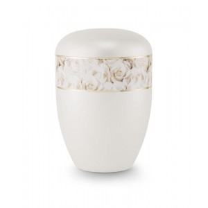 Biodegradable Urn (Pearl with White Rose Border)
