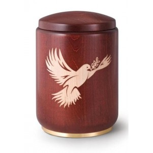 Wooden Urn (Stained Mahogany with Dove & Olive Branch Engraving)