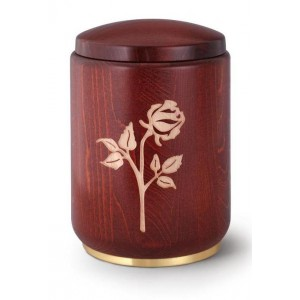 Wooden Urn - Stained Mahogany with Rose Engraving