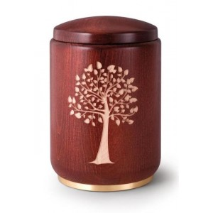 Wooden Urn (Stained Mahogany with Tree of Life Engraving)