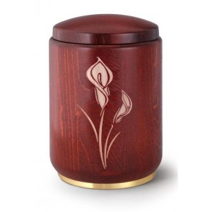 Wooden Urn (Stained Mahogany with Calla Lily Engraving)