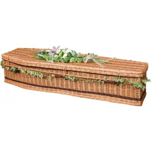 Autumn Gold Wicker / Willow Toffee Brown (Traditional Style) Coffin **SURROUNDED BY LOVE**