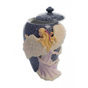 Hand Painted Angel's Embrace Small Urn / Keepsake
