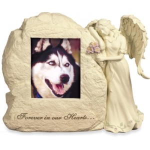 Weatherproof (Outdoor / Indoor Use) - Rock Cremation Ashes Urn with Angel - Forever In Our Hearts