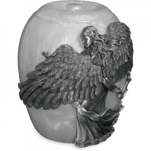 Pewter Celestial Angel's Embrace Cremation Ashes Urn - Mother of Pearl Effect - 9 inch