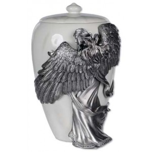 Pewter Angel's Embrace Cremation Ashes Urn - Mother of Pearl Finish - 15 inch